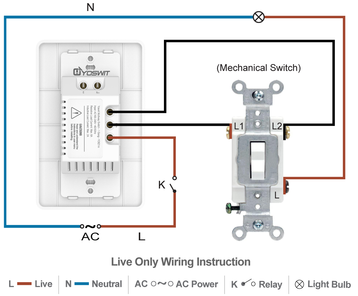 Smart 3-Way Switch - Socket 120 - 1 Gang - Smart Home - Yoswit.com
