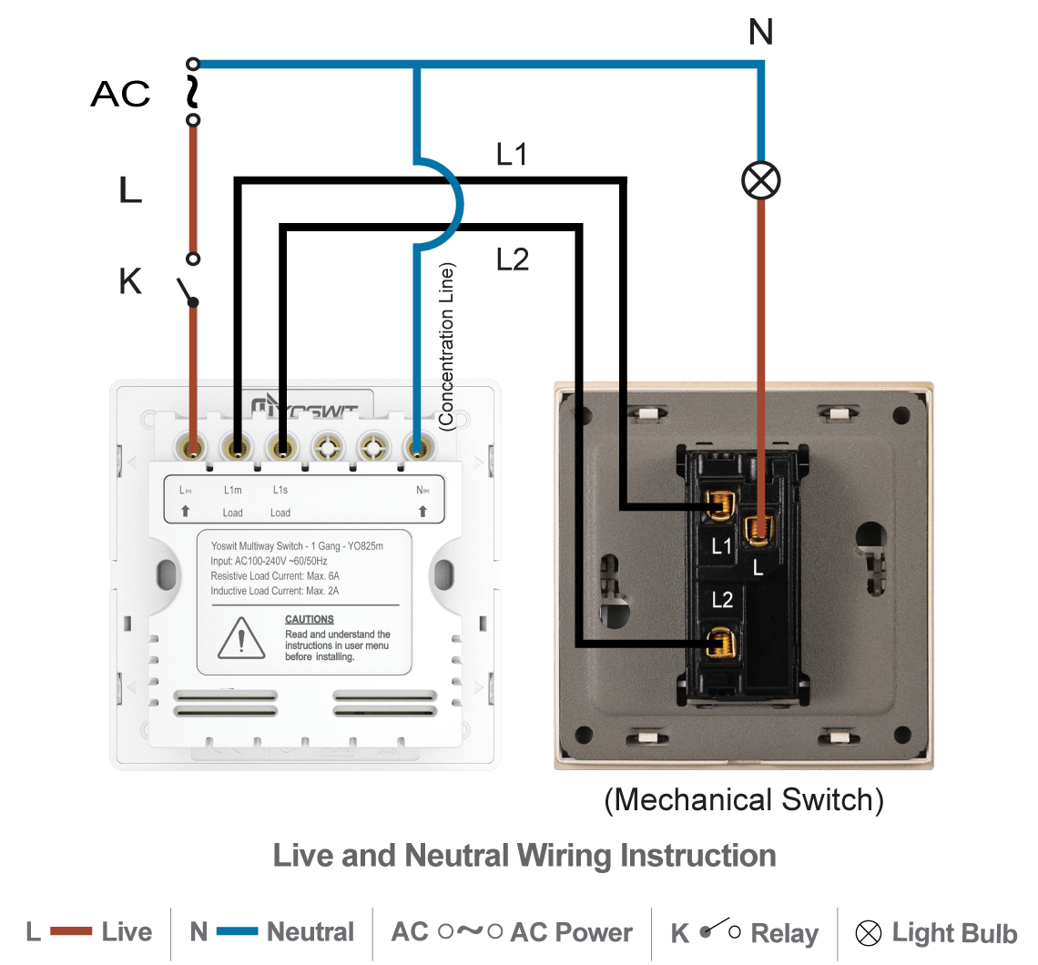 Smart 3 Way Switch Socket 86 1 Gang Home Yoswitcom Three Switches Wiring Diagram Option 2 Connect Yoswit With Common Wire Neutral