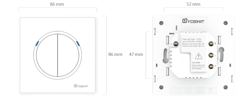 smart light switch - socket 55 - 2 gang